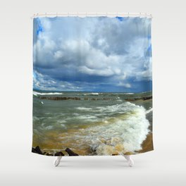 Waves at Whitefish Point Shower Curtain