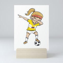 Dabbing Soccer Player Funny Colombia Fan design girl Mini Art Print