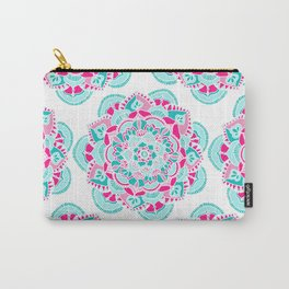 Hot Pink & Teal Mandala Flower Carry-All Pouch