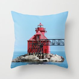 Sturgeon Bay Ship Canal North Pierhead Light House Throw Pillow