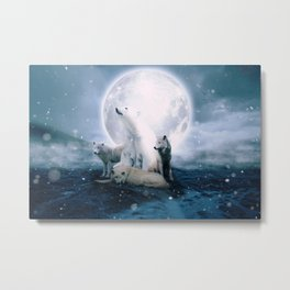 Wolves and the polar bear by GEN Z Metal Print