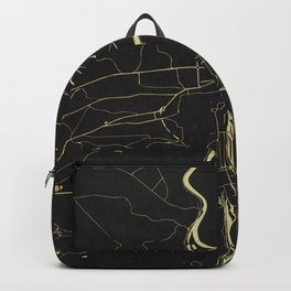 Prague Black and Gold Map Backpack