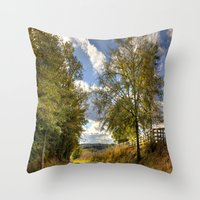 kentucky Throw Pillows featuring Kentucky Road by JMcCool