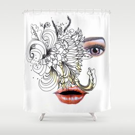 rostros y flores Shower Curtain