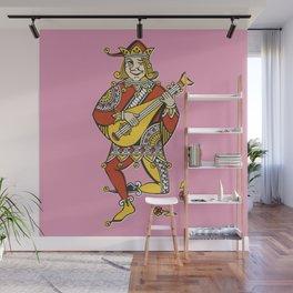 Joker play the Mandolin funny vintage drawing illustration Wall Mural