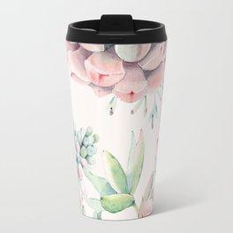 Pink Succulents on Cream Travel Mug