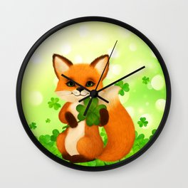 Fluffy little fox with 4-leaf clover Wall Clock