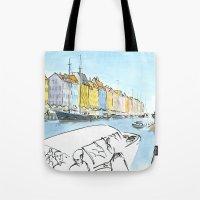 denmark Tote Bags featuring Denmark - Copenhagen by World Sketching Tour - Luís Simões