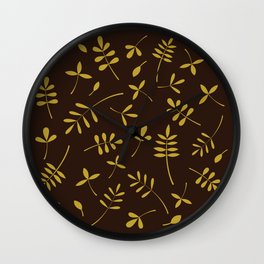 Gold Leaves Design on Brown Wall Clock