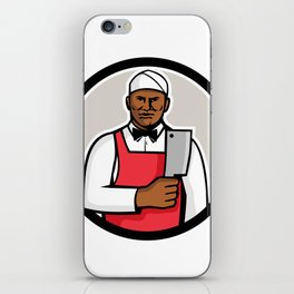 African American Butcher Circle Mascot iPhone Skin