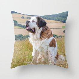 St Bernard dog Throw Pillow