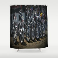 bikes Shower Curtains featuring Belen Bikes by Andooga Design