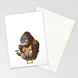 A gorilla relaxing after taking bath Stationery Cards