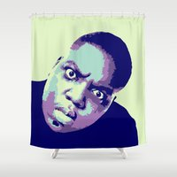biggie smalls Shower Curtains featuring Biggie by victorygarlic