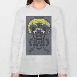 yellow skull and bone graffiti drawing with grey background Long Sleeve T-shirt