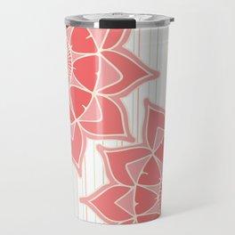 Pastel color coral pink floral mandala stripes Travel Mug