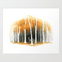 autumn Art Prints featuring Autumn Wolf by Freeminds