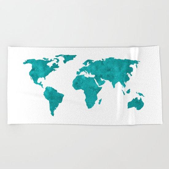 Turquoise Metallic Foil World Map Beach Towel