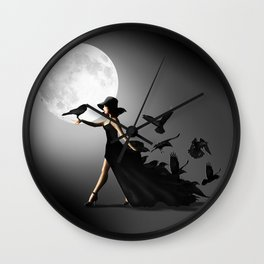 The woman with the ravens Wall Clock