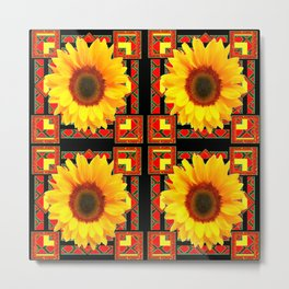 QUATRE WESTERN BLACK & RED ART DECO YELLOW SUNFLOWER Metal Print