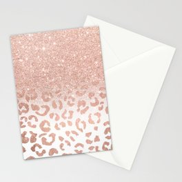 Trendy modern faux rose gold glitter ombre leopard pattern Stationery Cards