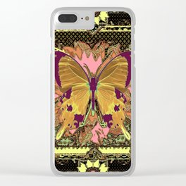 Ornate Mauve Swallow Tailed Butterfly Yellow-Khaki Design Clear iPhone Case