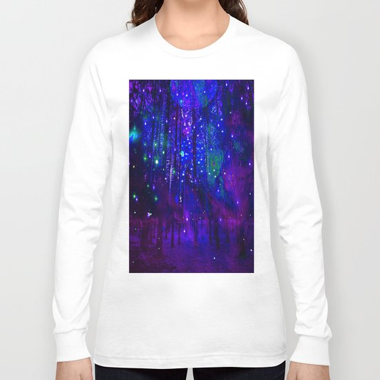 TREES MOON AND SHOOTING STARS Long Sleeve T-shirt