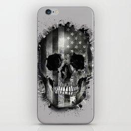 usa black and white skull iPhone Skin