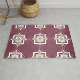 Mulberry and Taupe Mosaic Pattern Rug