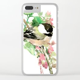 Chickadee and spring blossom Clear iPhone Case