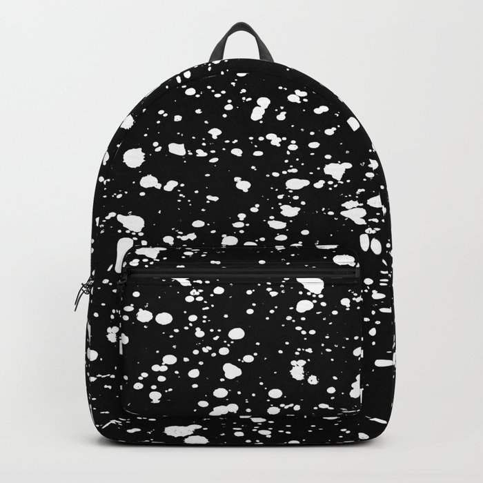 Paint Spatter White on Black Backpack