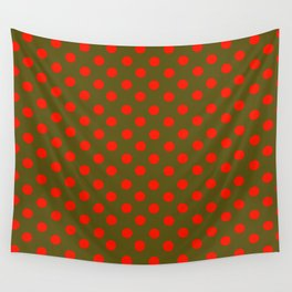 Brown and Red Polka Dot Party Wall Tapestry