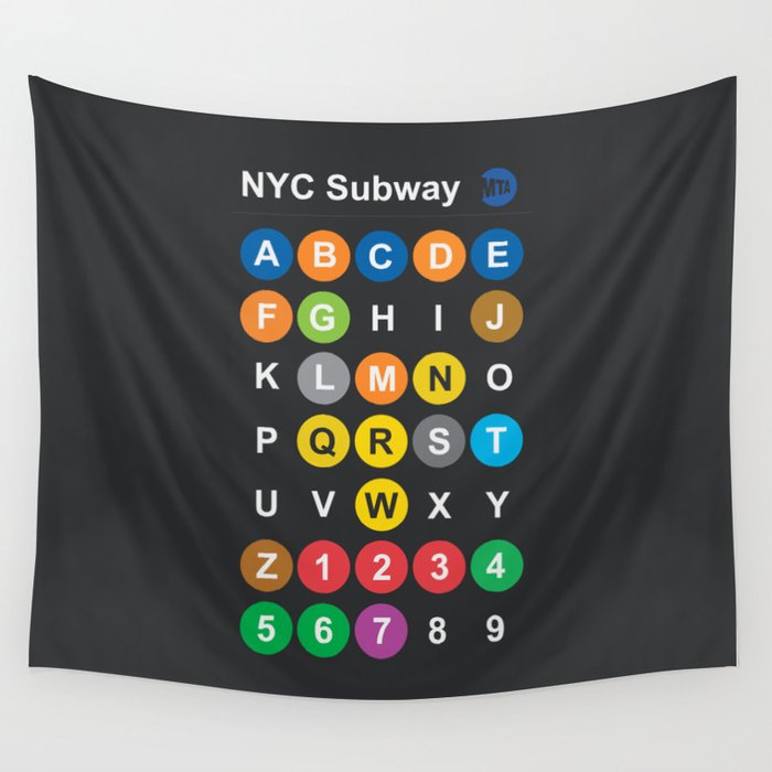New York City subway alphabet map, NYC, lettering illustration, dark version, usa typography Wall Tapestry