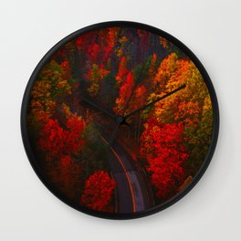 Autumn Forest Aerial (Color) Wall Clock