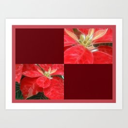 Mottled Red Poinsettia 1 Ephemeral Blank Q10F0 Art Print