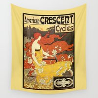 bicycles Wall Tapestries featuring Vintage American art nouveau Bicycles ad by aapshop