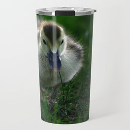 Cute Duckling Walking on a Lawn Travel Mug