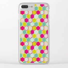 Multicolored Hexagon Shapes Pattern Clear iPhone Case