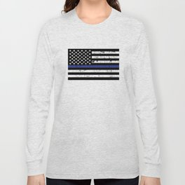 Police Thin Blue Line Flag Long Sleeve T-shirt