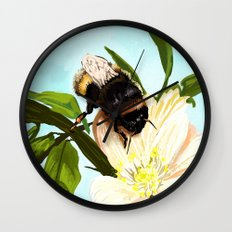 Bee on flower 4 Wall Clock