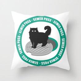 Sewer Puss Green Throw Pillow