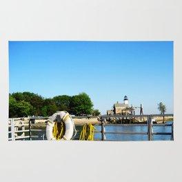 Sheffield Island Lighthouse, Norwalk, Connecticut, blue sky Rug