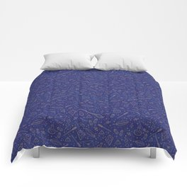 Yer a Wizard - Blue + Bronze Comforters
