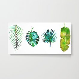 Four Tropical Leaves Metal Print