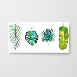 Four Tropical Leaves Metal Print