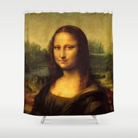 mona lisa Shower Curtains featuring Mona Lisa by Elegant Chaos Gallery