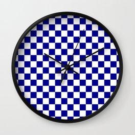 Jumbo Blue and White Australian Racing Flag Checked Checkerboard Wall Clock