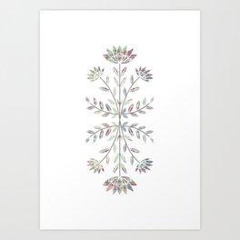Folkart Leaves and Flowers Design / Batik Tie Dye / green, purple Art Print
