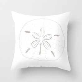 Sand Dollar Dreams - Brown on White Throw Pillow