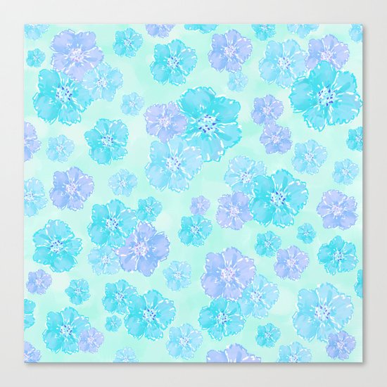 Blossoms Aqua Blue Mint Canvas Print